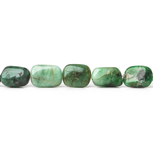 8x7-12x7mm Emerald plain nugget beads 8.5 inch 19 pieces