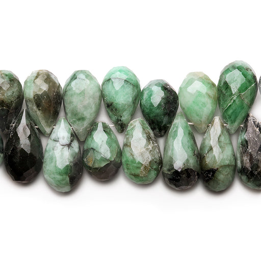 11x8-18x8mm Emerald Faceted Tear Drop beads 8 inch 58 pieces