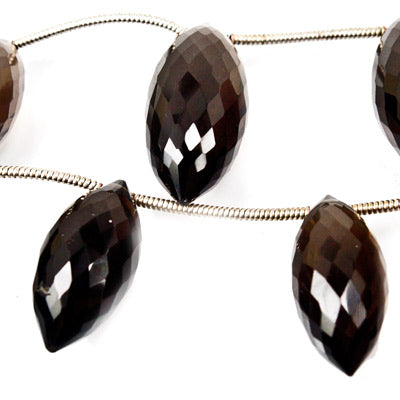 Smoky Quartz Faceted 17-22mm Top Drilled Puffy Marquise