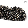 8mm Black & White Tibetan Agate faceted rounds 14.5 inch 47 beads