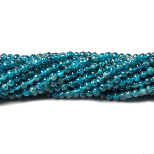 2.5mm Neon Blue Apatite plain rounds 13 inch 165 beads