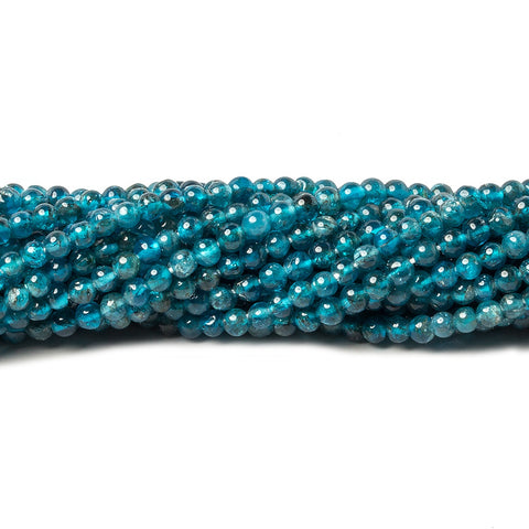 3mm Neon Blue Apatite plain rounds 13 inch 115 beads