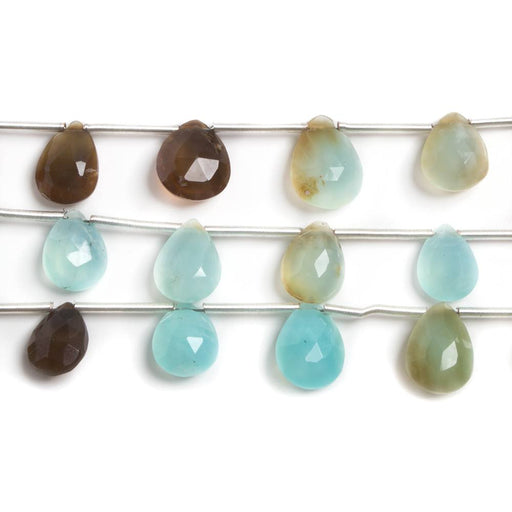 7x5-9x6mm Blue Peruvian Opal faceted pear beads 8 inch 13 pieces