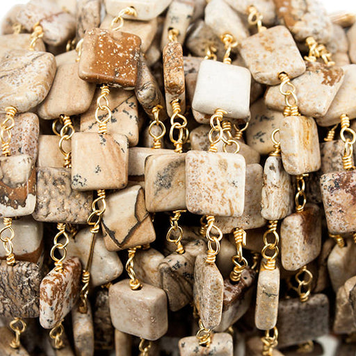 7mm Picture Jasper Plain Square Gold plated Chain by the foot