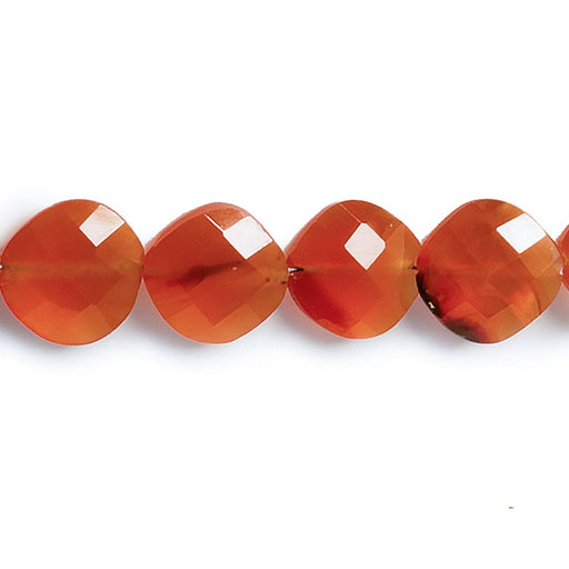 10mm-12mm Carnelian faceted pillow beads 15 inch 17 pieces