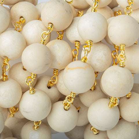 10mm Matte River Stone Jasper plain round Gold Chain by the foot with 18 beads