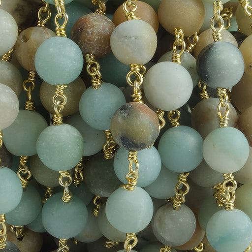 8mm Matte Multi Color Amazonite plain round Gold Chain by the foot with 21 beads