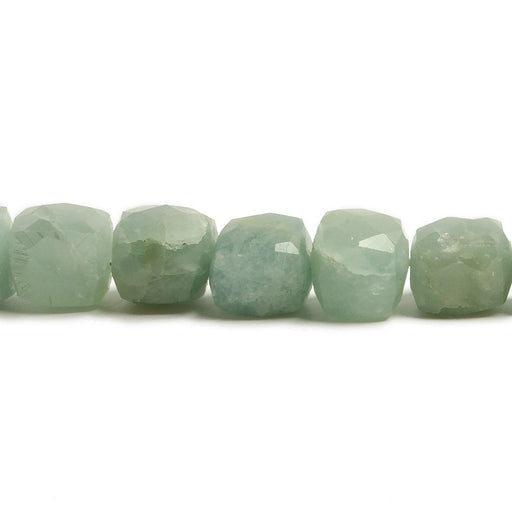 7.5-8mm Aquamarine Faceted Cube Beads 8 inch 24 pieces