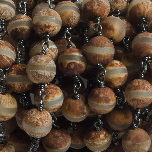 8mm Matte Sandalwood Tibetan Agate round Black Gold Chain by the foot with 21 pcs