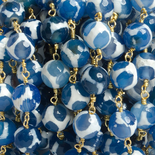8mm Blue Honeycomb Tibetan Agate round Gold Chain by the foot with 21 pcs