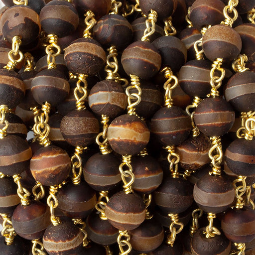 8mm Matte Brown Tibetan Agate round Gold Chain by the foot with 21 pcs