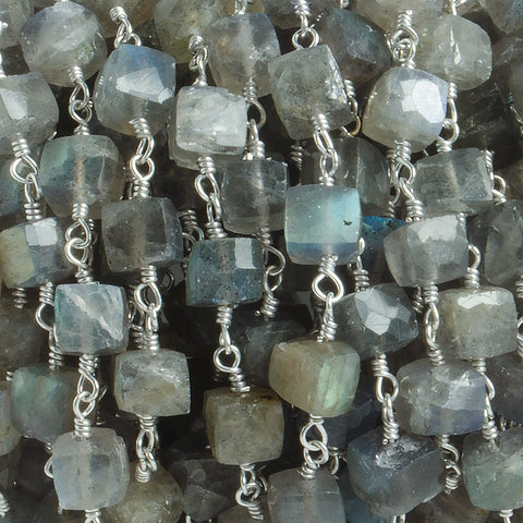 5mm Labradorite faceted cube Silver plated Chain by the foot with 28 pieces