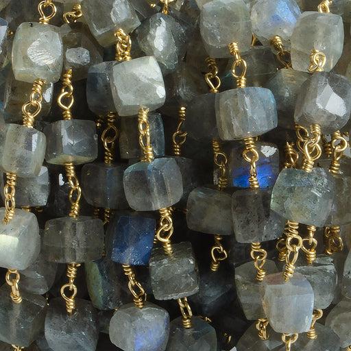5-6mm Labradorite faceted cube Gold plated Chain by the foot with 28 pieces