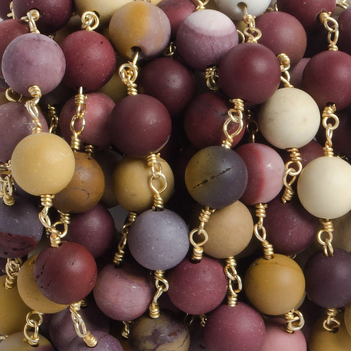 8mm Matte Moukaite Jasper plain round Gold plated Chain by the foot with 22 pieces