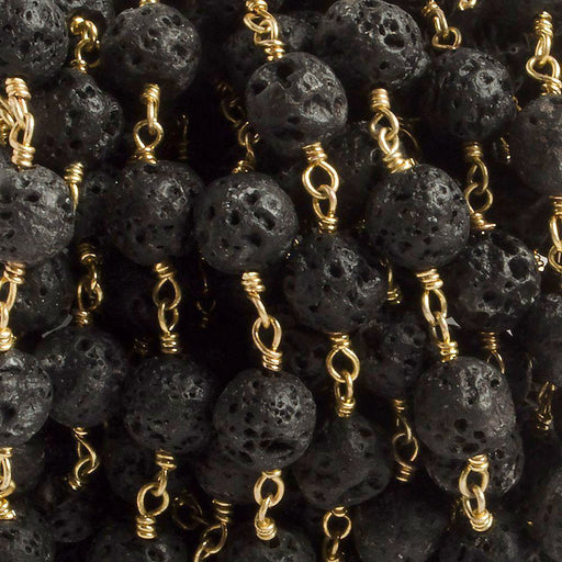 8mm Black Lava Rock unwaxed plain round Gold plated Chain by the foot with 21 pieces