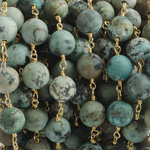 8mm Matte African Turquoise plain round Gold plated Chain by the foot with 22 pieces