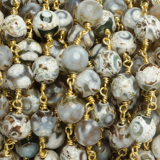 8mm Smoky Honeycomb Tibetan Agate round Gold Chain by the foot with 21 pcs