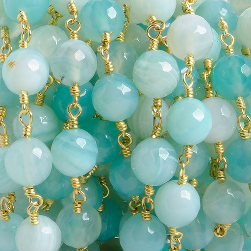 8mm Sky Blue banded Agate faceted round Gold Chain by the foot with 21 pieces