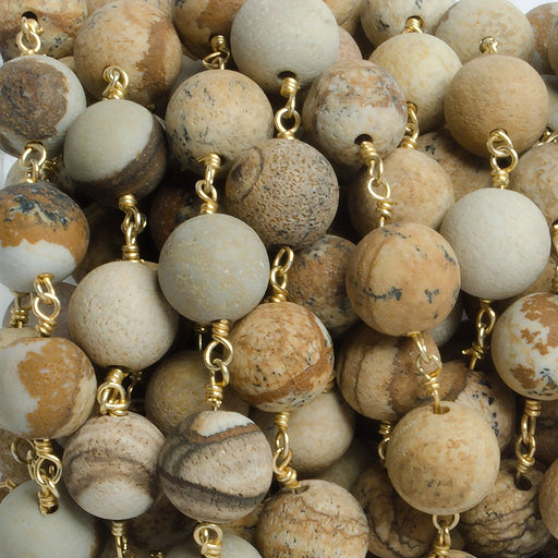 8mm Matte Picture Jasper plain round Gold plated Chain by the foot with 22 pieces