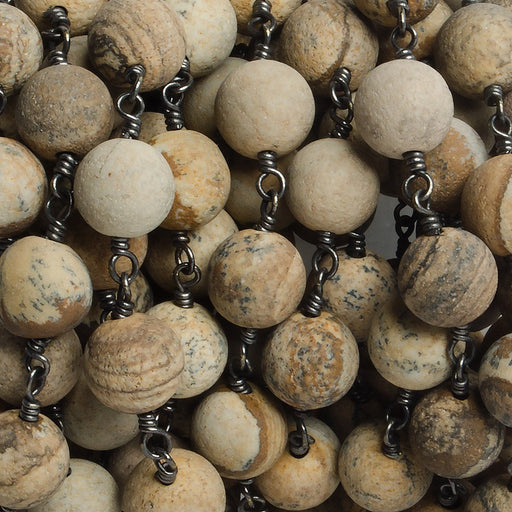 8mm Matte Picture Jasper plain round Black Gold plated Chain by the foot with 22 pieces