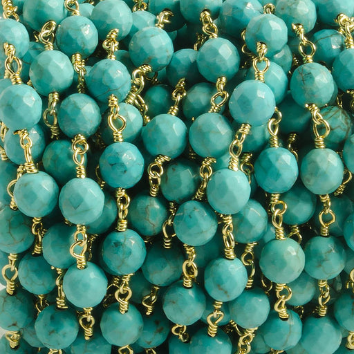 6mm Turquoise Magnesite faceted round Gold plated Chain by the foot with 25 pcs