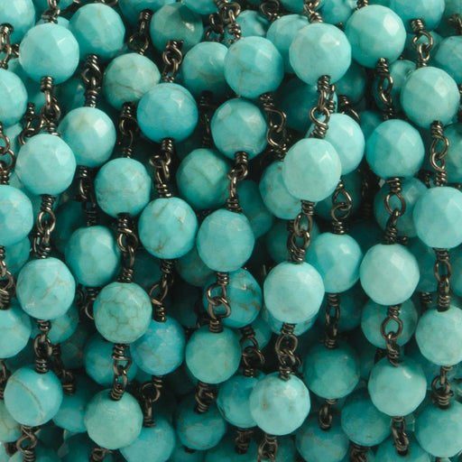 6mm Turquoise Magnesite faceted round Black Gold plated Chain by the foot with 25 pcs