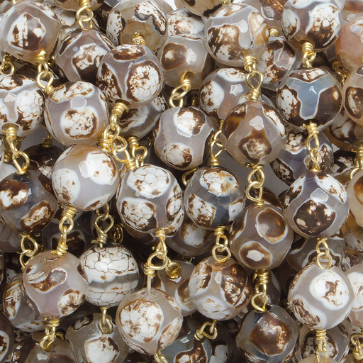 8mm Brown Honeycomb Tibetan Agate round Gold Chain by the foot with 21 pcs