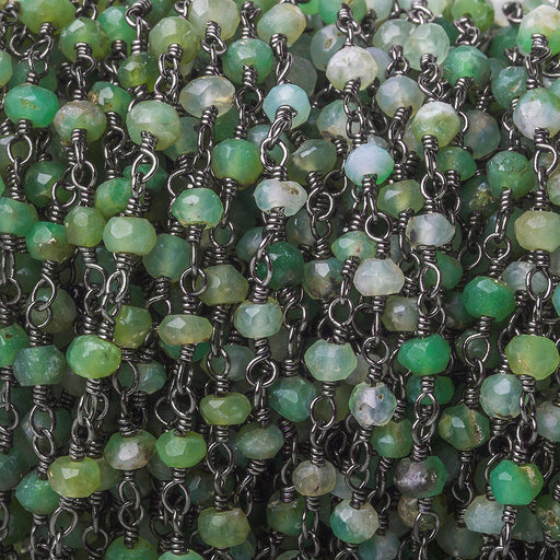 3mm Chrysoprase Faceted Rondelle Black Gold plated Chain by the foot