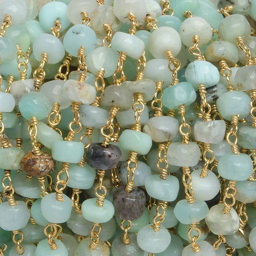 5mm Blue Peruvian Opal plain rondelle Gold plated Chain by the foot with 35 pcs