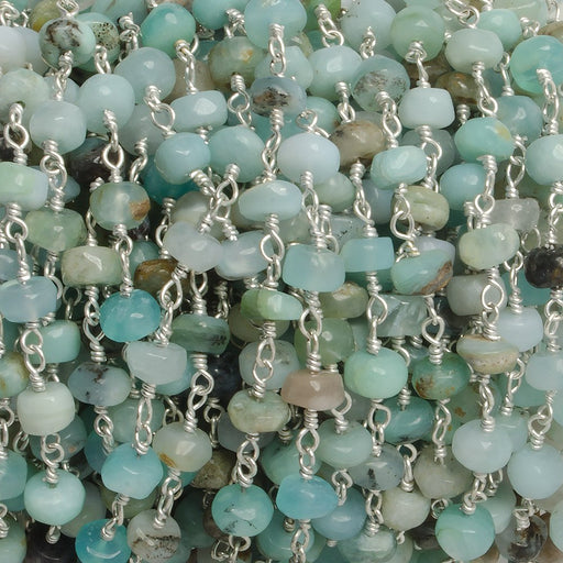 5mm Blue Peruvian Opal plain rondelle Silver plated Chain by the foot with 35 pcs
