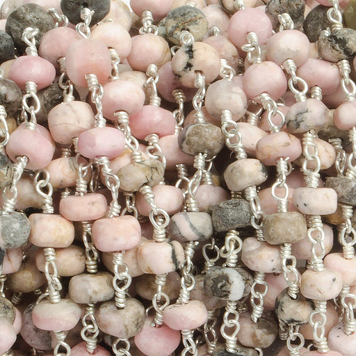5mm Matte Rhodonite plain rondelle Silver plated Chain by the foot with 33 pieces