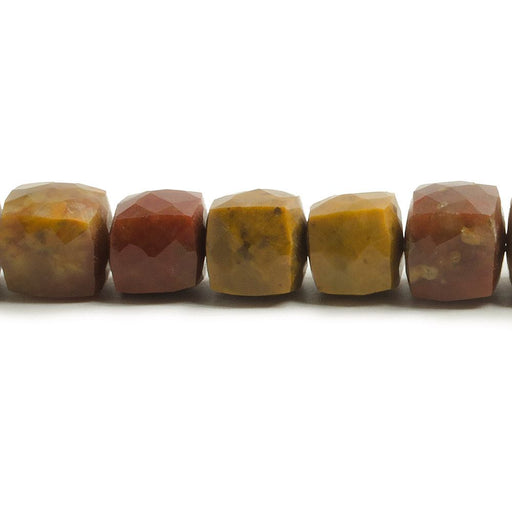 7-8mm Moukaite Jasper Faceted Cube Beads 7.5 inch 27 pieces