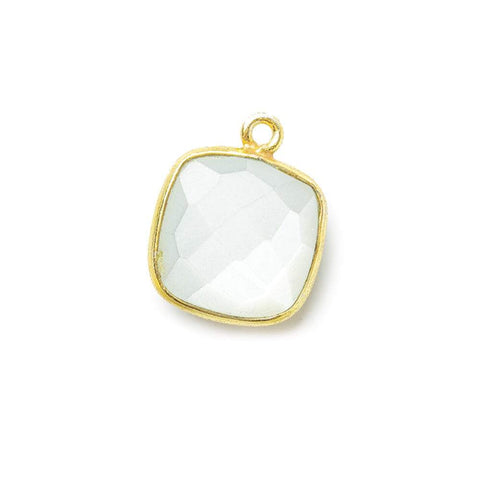 Vermeil Bezeled White Moonstone faceted pillow Pendant 1 piece