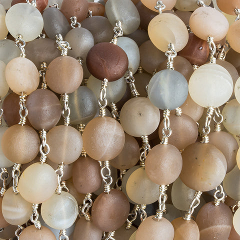 10mm-11mm Matte Multi Color Moonstone puffy coin Silver plated Chain by the foot 18 pieces
