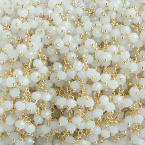 3mm White Crystal rondelle Gold Dangling Chain by the foot 97 beads