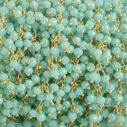 3mm Robin's Egg Blue Crystal rondelle Gold Dangling Chain by the foot 97 beads