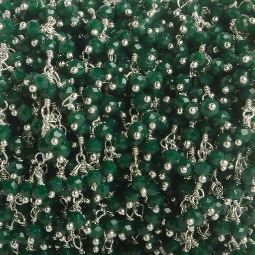 3mm Forest Green Crystal rondelle Silver Dangling Chain by the foot 97 beads