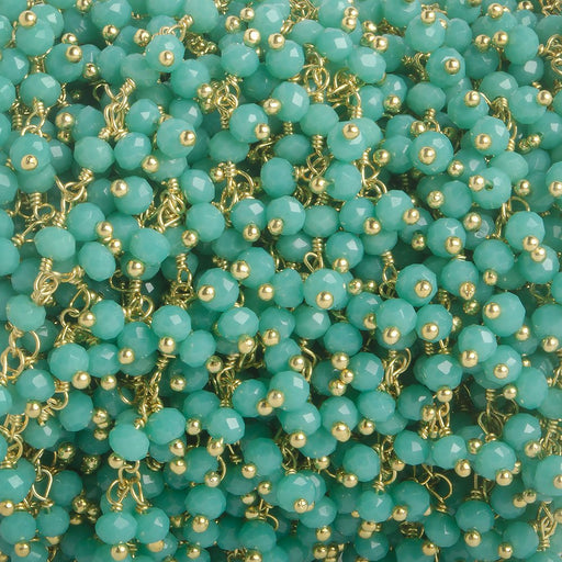 3mm Turquoise Crystal rondelle Gold Dangling Chain by the foot 97 beads