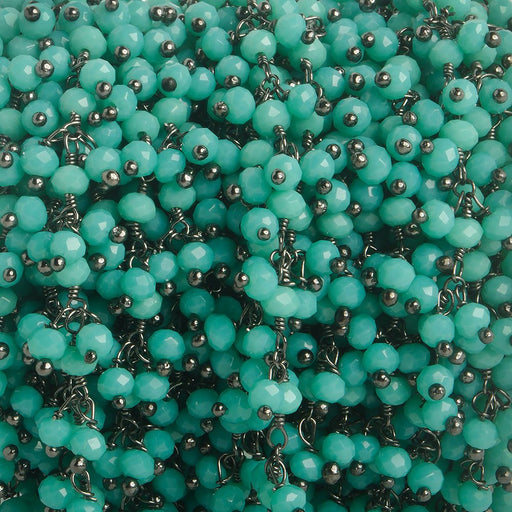 3mm Turquoise Crystal rondelle Black Dangling Chain by the foot 97 beads