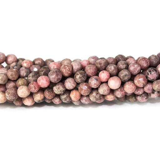 4mm Rhodonite faceted round beads 14 inch 96 pieces