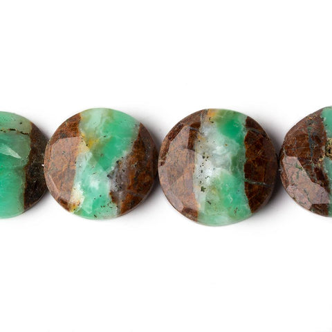 Chrysoprase and Matrix Faceted Coin Beads 7.5 inch 10 beads 18-19mm