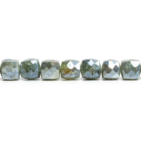 Mystic Moss Aquamarine Faceted Cube Beads 8 inch 35 pieces