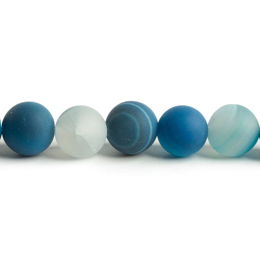 8mm Matte Banded Teal Blue Agate plain rounds 15 inch 47 beads