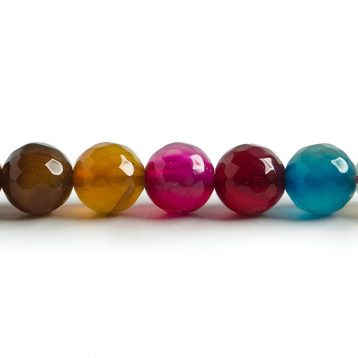 8mm Dark Multi Color Agate faceted round beads 14.5 inch 47 pieces