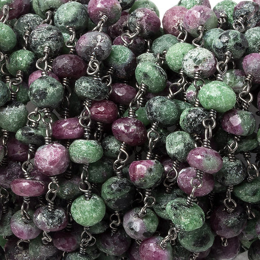 6-7mm Ruby in Zoisite faceted rondelle Black Gold plated Chain by the foot 32 beads