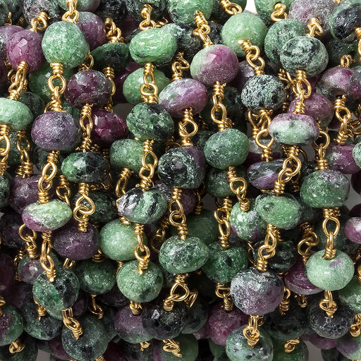 6-7mm Ruby in Zoisite faceted rondelle Gold plated Chain by the foot 32 beads