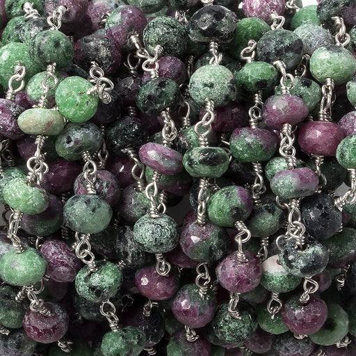6-7mm Ruby in Zoisite faceted rondelle Silver plated Chain by the foot 32 beads