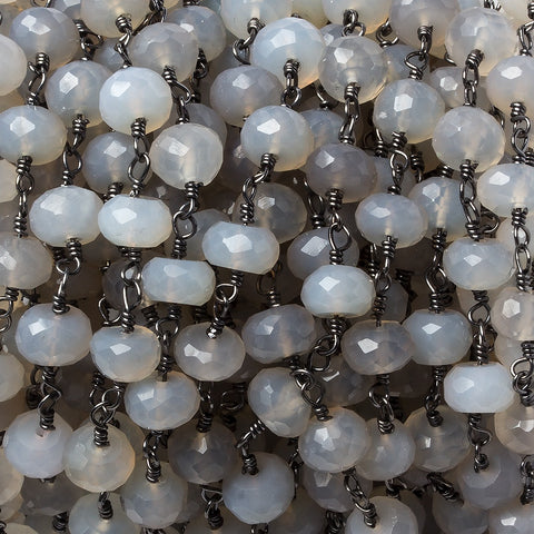 7mm Grey Chalcedony rondelle Black Gold Chain by the foot 27 pieces
