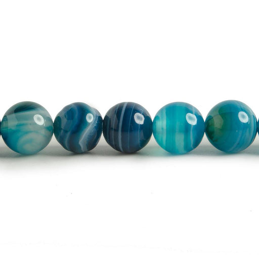 8mm Banded Teal Blue Agate plain rounds 15 inch 47 beads