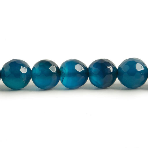 8mm Royal Blue Agate faceted rounds 15 inch 47 beads